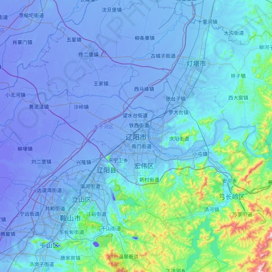 Liaoyang topographic map, relief map, elevations map