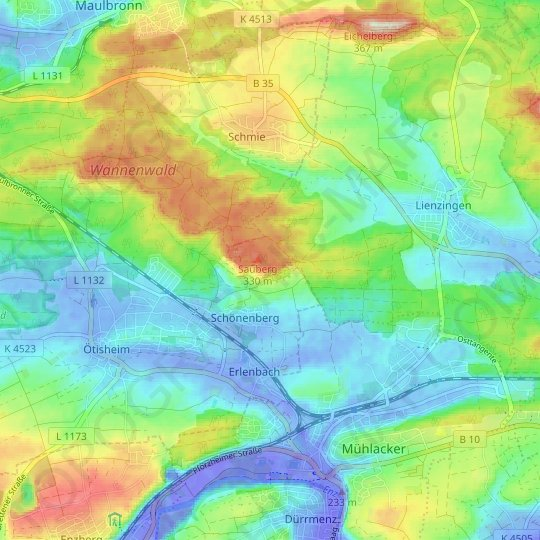 Chartaque topographic map, relief map, elevations map