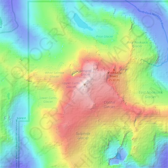 Mount Shuksan topographic map, relief map, elevations map