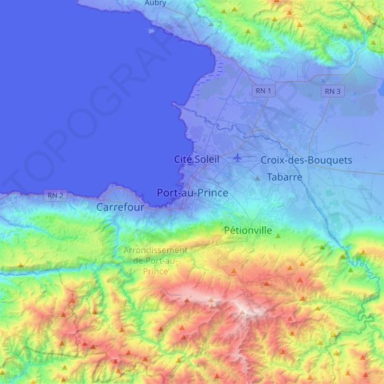 Port-au-Prince topographic map, relief map, elevations map