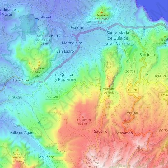 Buenavista topographic map, relief map, elevations map