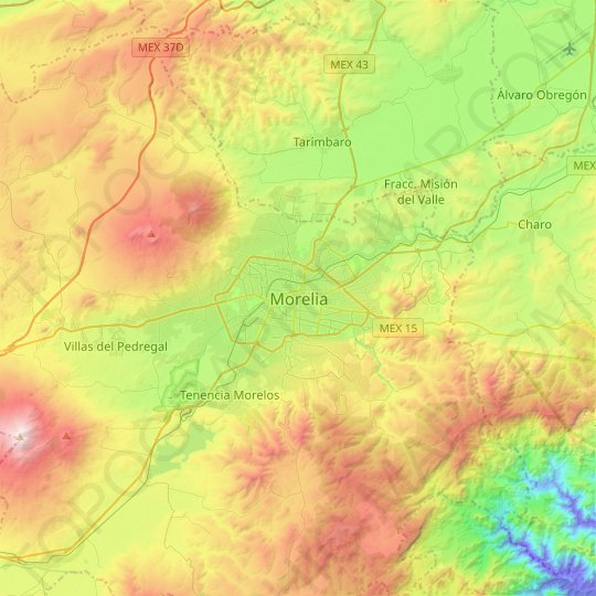 Morelia topographic map, relief map, elevations map