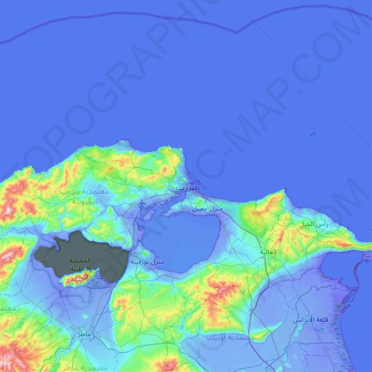 Bizerte topographic map, elevation, relief