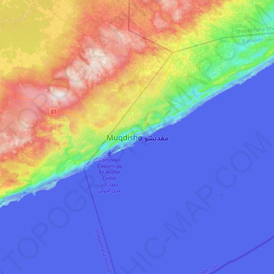 Mogadishu topographic map, relief map, elevations map