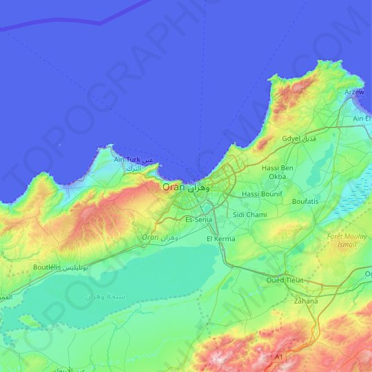 Oran topographic map, relief map, elevations map