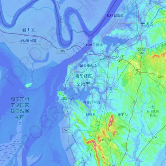 Yueyang topographic map, relief map, elevations map