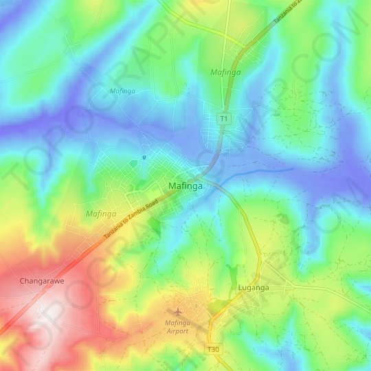 Mafinga topographic map, relief map, elevations map
