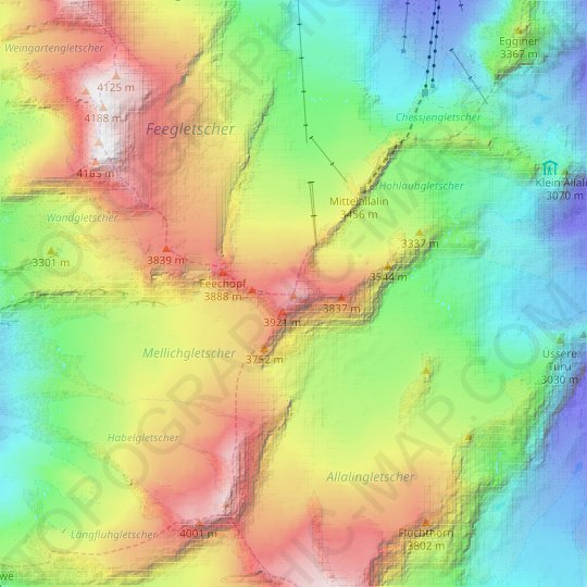 Allalinhorn topographic map, relief map, elevations map
