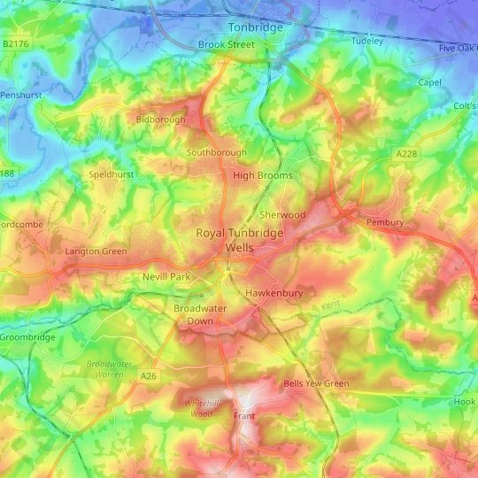 77 Mount Ephraim topographic map, relief map, elevations map