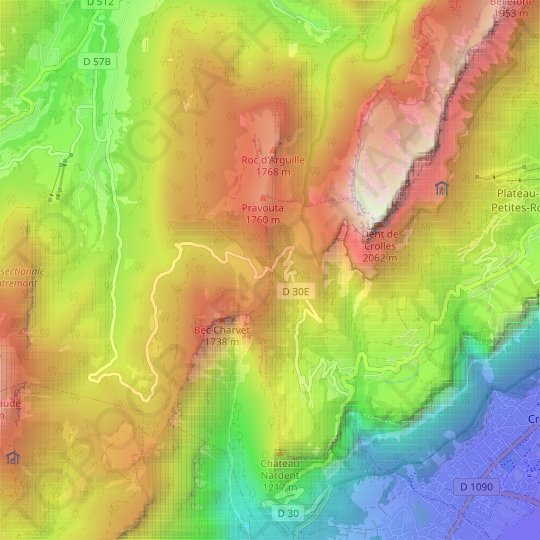 Col du Coq topographic map, elevation, relief