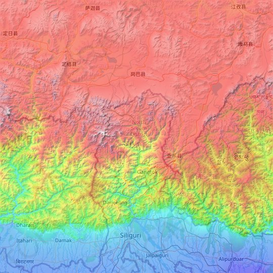 North District topographic map, relief map, elevations map