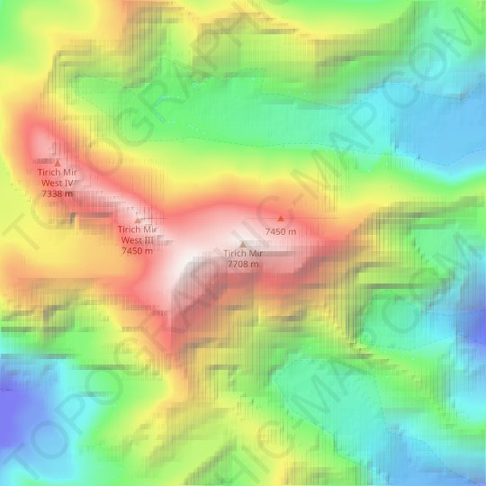 Tirich Mir topographic map, relief map, elevations map