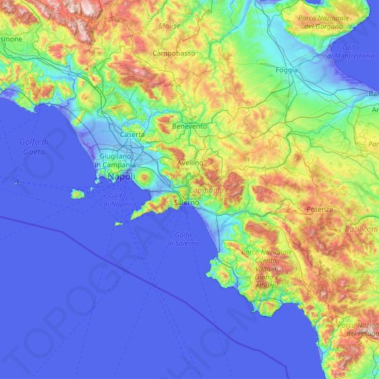Campania topographic map, elevation, relief
