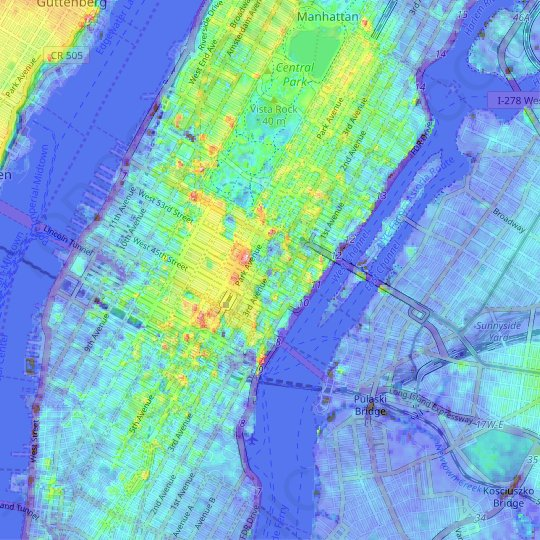 Midtown East topographic map, relief map, elevations map
