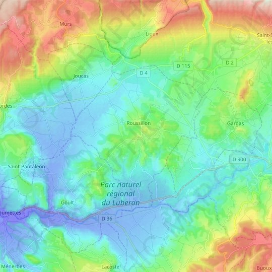 Roussillon topographic map, elevation, relief