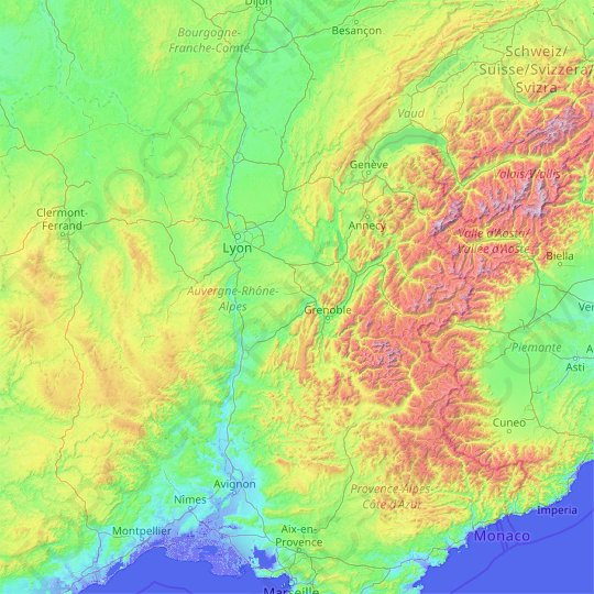 Rhône-Alpes topographic map, relief map, elevations map