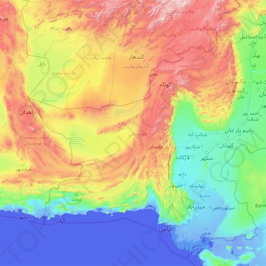 Balochistan topographic map, relief map, elevations map