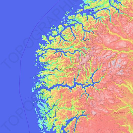 Sogn og Fjordane topographic map, relief map, elevations map