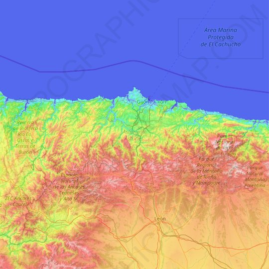 Asturias topographic map, relief map, elevations map