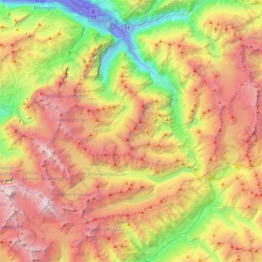Guttannen topographic map, relief map, elevations map