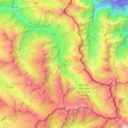 Ristolas topographic map, relief map, elevations map