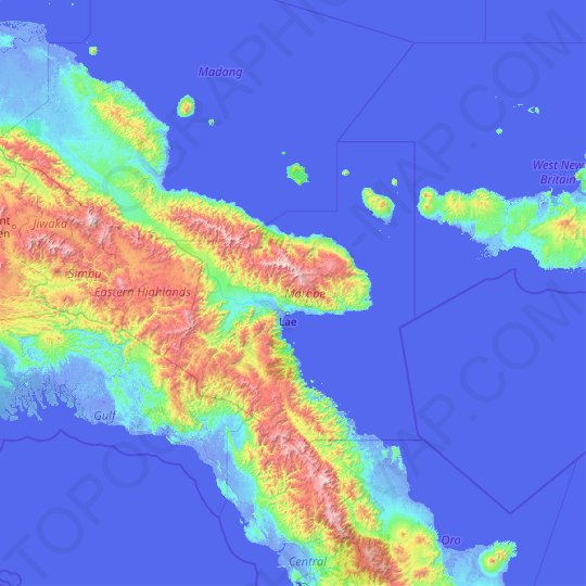 Morobe topographic map, relief map, elevations map