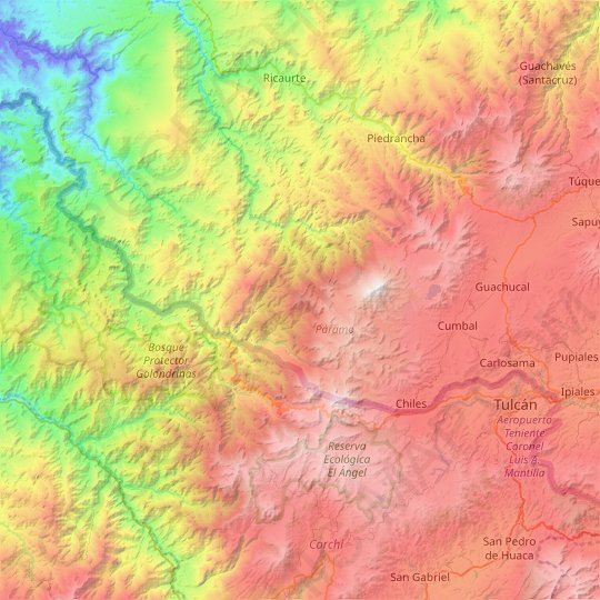 Cumbal topographic map, relief map, elevations map