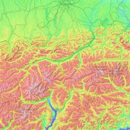 Tyrol topographic map, relief map, elevations map
