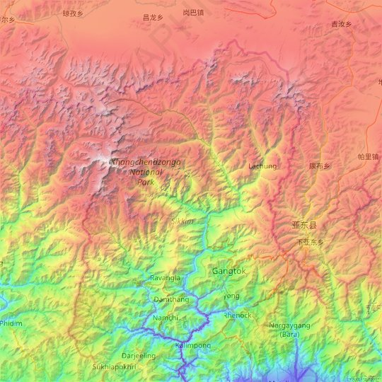 Sikkim topographic map, relief map, elevations map