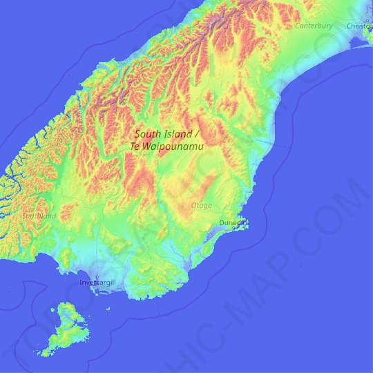 Otago topographic map, relief map, elevations map