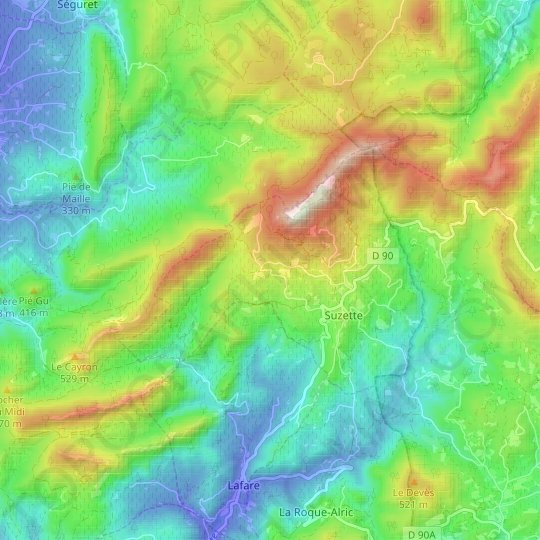 Suzette topographic map, relief map, elevations map