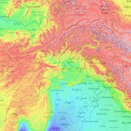 Khyber Pakhtunkhwa topographic map, relief map, elevations map