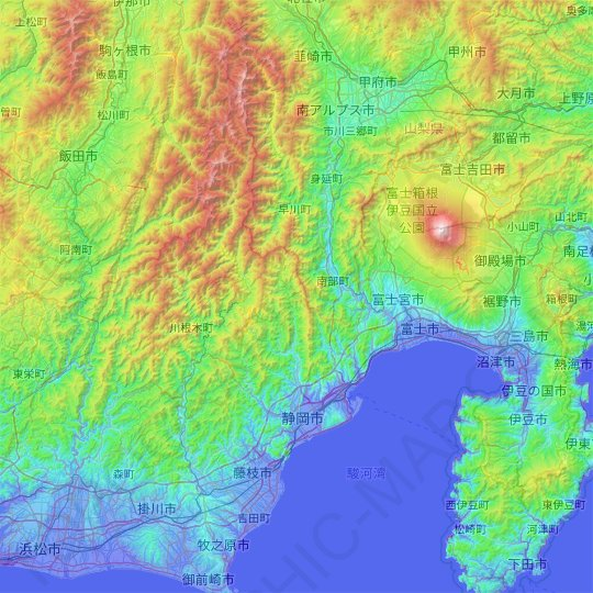 Shizuoka topographic map, relief map, elevations map