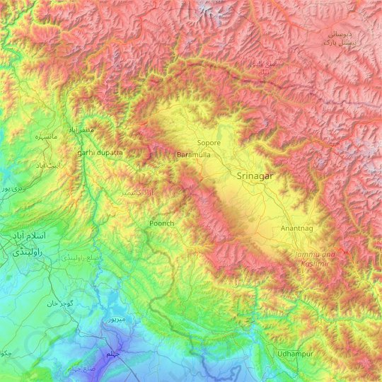 Azad Kashmir topographic map, relief map, elevations map