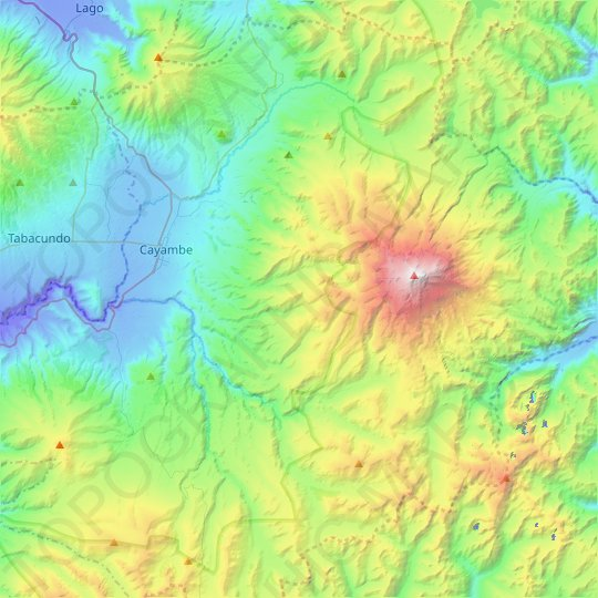 Cayambe topographic map, relief map, elevations map