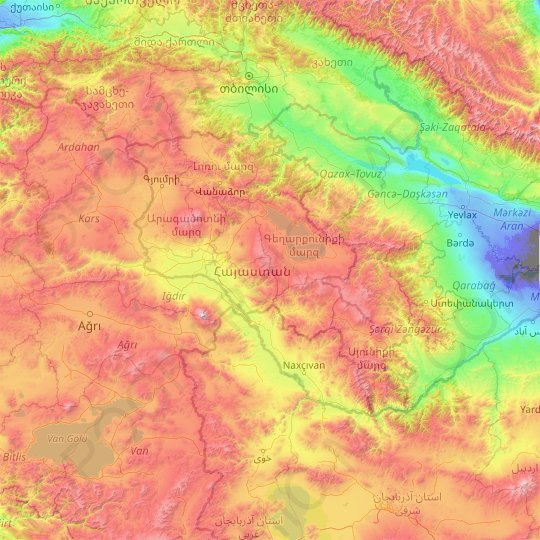 Armenia topographic map, elevation, relief