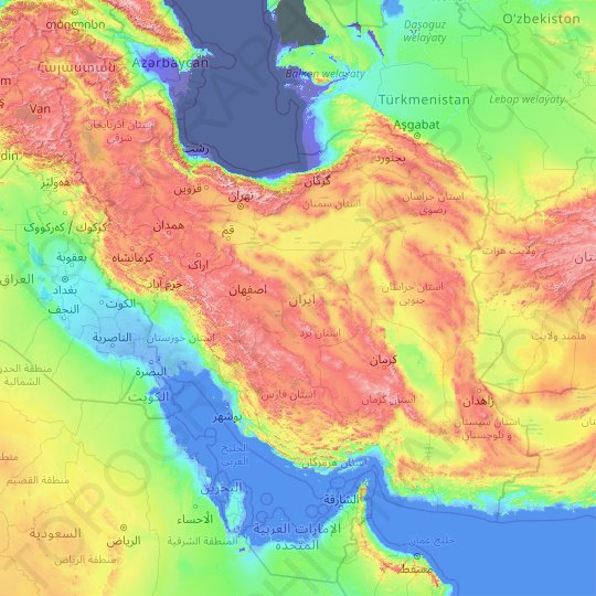 Iran topographic map, relief map, elevations map
