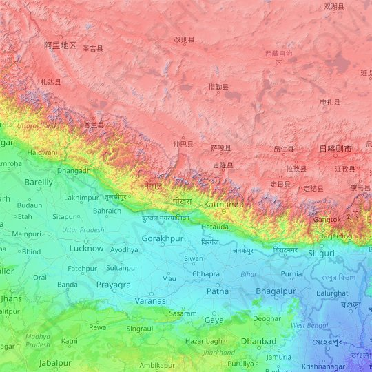 Nepal topographic map, relief map, elevations map