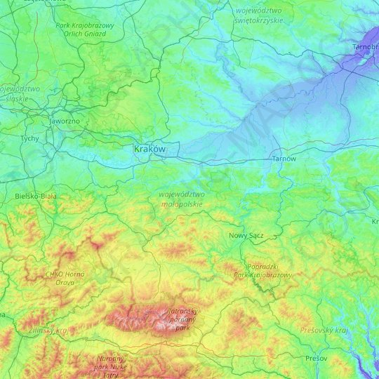 Lesser Poland Voivodeship topographic map, relief map, elevations map