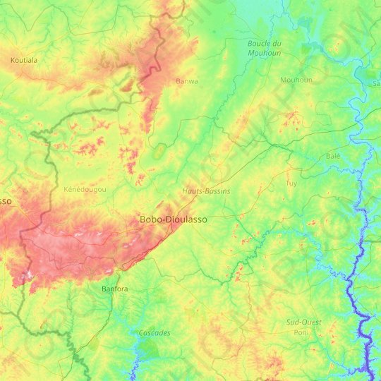 Upper-Basins topographic map, relief map, elevations map