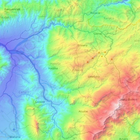 Ermera topographic map, relief map, elevations map