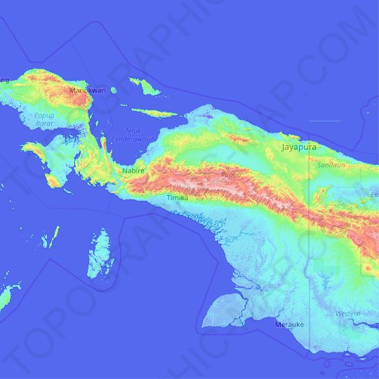 Papua topographic map, relief map, elevations map