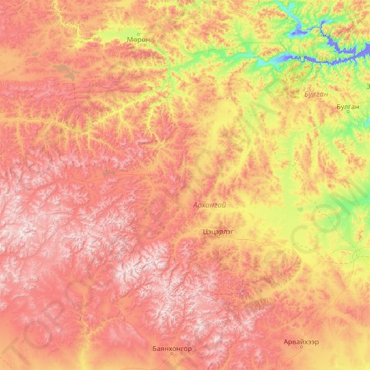 Arkhangai topographic map, relief map, elevations map