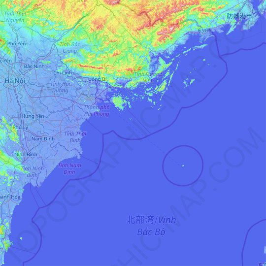 Haiphong topographic map, relief map, elevations map