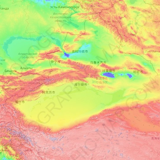 Xinjiang topographic map, relief map, elevations map