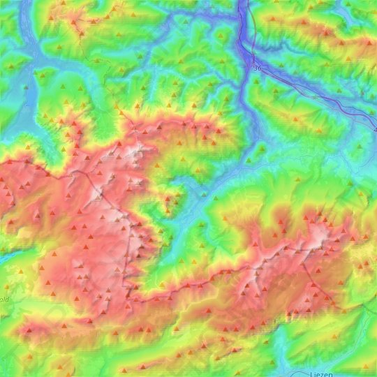 Hinterstoder topographic map, relief map, elevations map