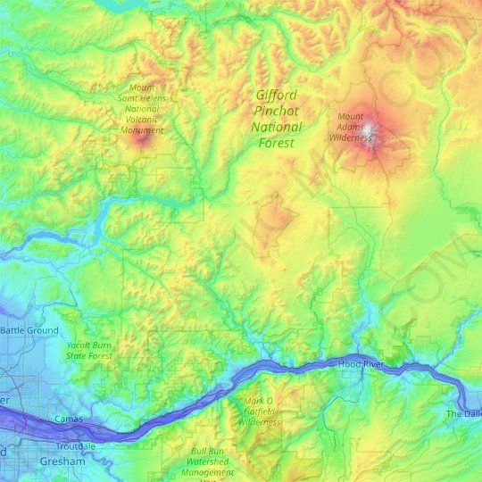 Skamania County topographic map, elevation, relief