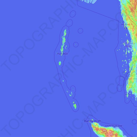 Andaman and Nicobar Islands topographic map, relief map, elevations map