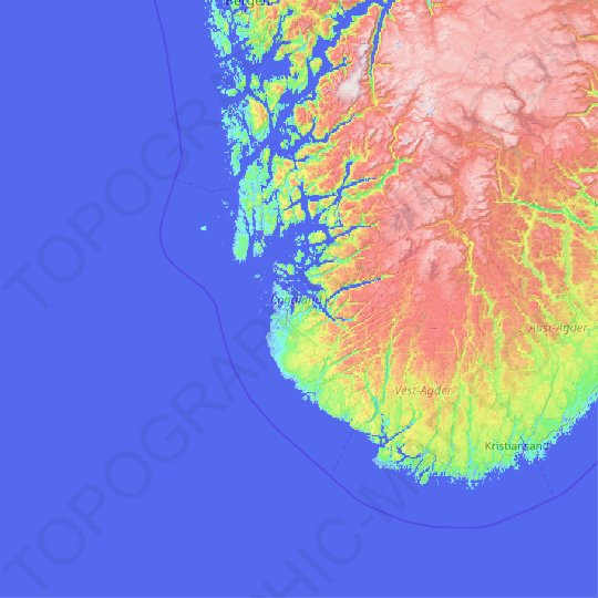 Rogaland topographic map, relief map, elevations map