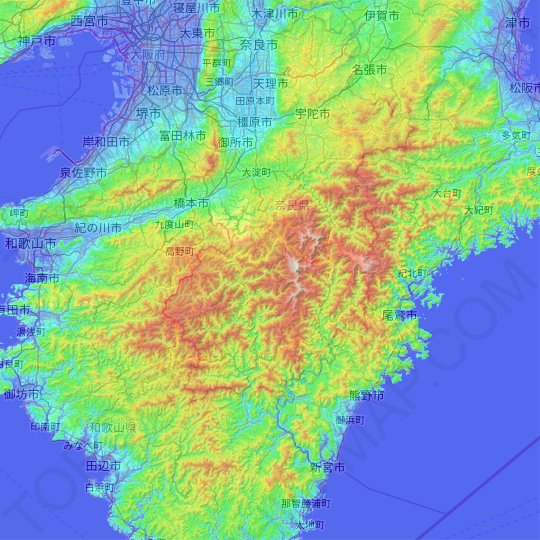 Yoshino County topographic map, relief map, elevations map